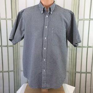 IZOD Men's Button Front Cotton 3-D Checks Size L